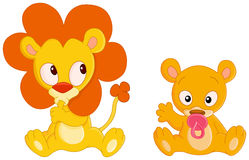 Baby animals. Cute Baby lion and baby lioness Stock Photography