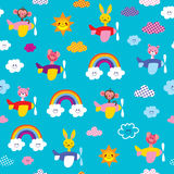 Baby animals in airplanes seamless pattern royalty free illustration
