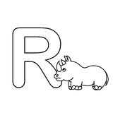 Baby  animals  alphabet  kids coloring  page isolated Stock Photo