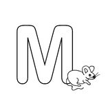 Baby  animals  alphabet  kids coloring  page isolated Royalty Free Stock Image
