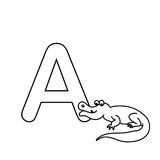 Baby  animals  alphabet  kids coloring  page isolated Royalty Free Stock Photo