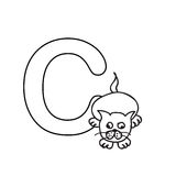 Baby  animals  alphabet  kids coloring  page isolated Stock Images