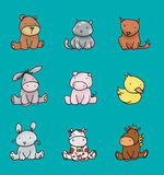 Baby animals colors 2. Illustration of nine babies animals,digital colors Royalty Free Stock Images