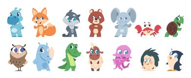 Baby animals. Cute cartoon characters, little funny wild and domestic animal children. Vector pets and forest fauna stock illustration