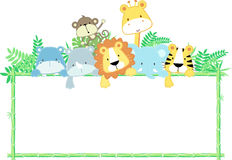 Baby animals frame. Vector illustration of cute jungle baby animals with blank sign Royalty Free Stock Photos