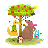 Baby Animals Friends and Apple Tree. Stock Photos