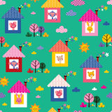 Baby animals in houses kids pattern Stock Photo