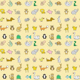 Baby animals icons seamless pattern Royalty Free Stock Photos
