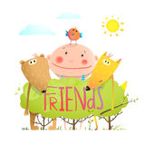 Baby animals and kid childish funny friends cartoon with sign Stock Image