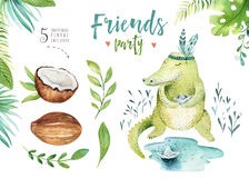 Baby animals nursery isolated illustration for children. Watercolor boho tropical drawing, child cute crocodile, tropic royalty free illustration