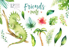 Baby animals nursery isolated illustration for children. Watercolor boho tropical drawing, child cute tropic iguana royalty free illustration