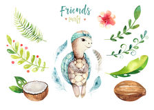 Baby animals nursery isolated illustration for children. Watercolor boho tropical drawing, child cute tropic turtle vector illustration