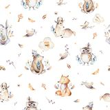 Baby animals nursery isolated seamless pattern with bannies. Watercolor boho cute baby fox, deer animal woodland rabbit royalty free illustration
