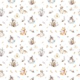 Baby animals nursery isolated seamless pattern with bannies. Watercolor boho cute baby fox, deer animal woodland rabbit stock illustration