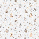 Baby animals nursery isolated seamless pattern with bannies. Watercolor boho cute baby fox, deer animal woodland rabbit. Baby animals nursery isolated seamless royalty free stock photo