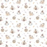Baby animals nursery isolated seamless pattern with bannies. Watercolor boho cute baby fox, deer animal woodland rabbit. Baby animals nursery isolated seamless royalty free stock images