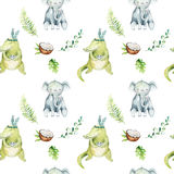 Baby animals nursery isolated seamless pattern. Watercolor boho tropical drawing, child tropical drawing cute crocodile. And elephant, tropic green illustration Stock Image