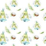 Baby animals nursery isolated seamless pattern. Watercolor boho tropical drawing, child tropical drawing cute crocodile. Tropic green illustration vector illustration