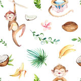 Baby animals nursery isolated seamless pattern. Watercolor boho tropical drawing, child tropical drawing cute monkey and. Palm tree, tropic green texture,exotic royalty free stock photos