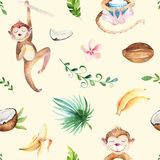 Baby animals nursery isolated seamless pattern. Watercolor boho tropical drawing, child tropical drawing cute monkey and Stock Photos