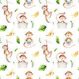 Baby animals nursery isolated seamless pattern. Watercolor boho tropical drawing, child tropical drawing cute monkey and. Palm tree, tropic green texture,exotic royalty free stock photography