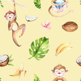 Baby animals nursery isolated seamless pattern. Watercolor boho tropical drawing, child tropical drawing cute monkey and. Palm tree, tropic green texture,exotic stock illustration
