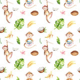 Baby animals nursery isolated seamless pattern. Watercolor boho tropical drawing, child tropical drawing cute monkey and. Palm tree, tropic green texture,exotic vector illustration