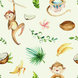 Baby animals nursery isolated seamless pattern. Watercolor boho tropical drawing, child tropical drawing cute monkey and. Palm tree, tropic green texture,exotic royalty free illustration
