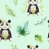 Baby animals nursery isolated seamless pattern. Watercolor boho tropical drawing, child tropical drawing cute panda and royalty free illustration