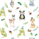Baby animals nursery isolated seamless pattern. Watercolor boho tropical drawing, child tropical drawing, panda, cute royalty free illustration