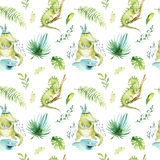 Baby animals nursery isolated seamless pattern. Watercolor boho tropical fabric drawing, child tropical drawing cute Royalty Free Stock Photos