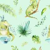 Baby animals nursery isolated seamless pattern. Watercolor boho tropical fabric drawing, child tropical drawing cute Stock Image