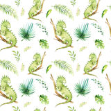 Baby animals nursery isolated seamless pattern. Watercolor boho tropical fabric drawing, child tropical drawing cute Stock Photography