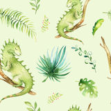 Baby animals nursery isolated seamless pattern. Watercolor boho tropical fabric drawing, child tropical drawing cute Royalty Free Stock Photo