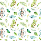 Baby animals nursery isolated seamless pattern. Watercolor boho tropical fabric drawing, child tropical drawing cute. Iguana, turtle and palm tree, alligator Royalty Free Stock Photography