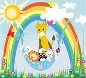 Baby animals on a rainbow Stock Photography