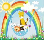 Baby animals on a rainbow. Vector set of funny, happy animals. Greeting card. Happy Birthday Stock Photography