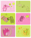 Baby Animals Set of Cards. Cute Baby Animals Set of Cards - for design and scrapbooking Royalty Free Stock Photo