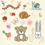 Baby animals. Set of wild animals and insect. Hand drawn illustration Stock Image