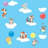 Baby animals in the sky with balloons and clouds. Cute little baby animals flying in the sky holding colorful balloons, easy to edit. All elements are grouped vector illustration