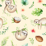 Baby animals sloth nursery isolated seamless pattern painting. Watercolor boho tropical drawing, child tropical drawing Royalty Free Stock Photos