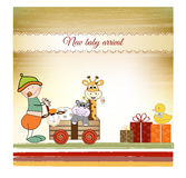Baby anniversary card with same gifts stock illustration