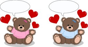 Baby announcement. Illustration of two cute baby bears Stock Photos