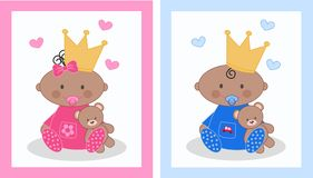 Baby announcement. Baby boy and baby girl announcement cards Royalty Free Stock Photo