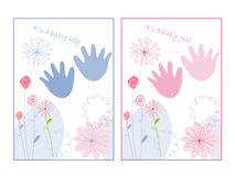 Baby announcement card. With flowers Royalty Free Stock Image