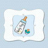 Baby announcement card. With milk bottle and pacifier Royalty Free Stock Images