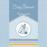 Baby announcement card. With milk bottle and pacifier Stock Photography
