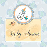 Baby announcement card with. Milk bottle and pacifier Royalty Free Stock Images