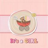 Baby announcement card. Funny teddy bear in stroller, baby announcement card Stock Images