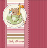 Baby announcement card with bag and same toys. New baby announcement card with bag and same toys Royalty Free Stock Photo